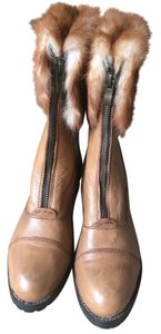Fur Trimmed brown leather Boots