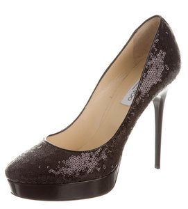Jimmy Choo Sequin Platform Embellished Pointed Toe Cosmic Black Pumps