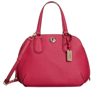 Coach Crossbody Crossgrain Leather F34940 Satchel in PINK RUBY