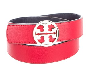Tory Burch Red leather Tory Burch gold tone Reva logo belt XXL