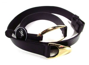 Landes Italian Leather Belt with Gold Oval Buckle