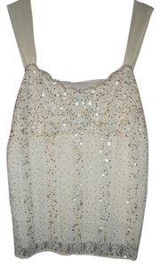 Ann Taylor Sequin Lace Holiday Top Cream