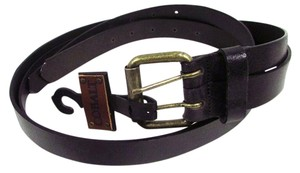 Cobalt Split Italian Leather Belt Black Size Medium