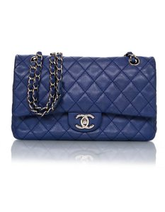 Chanel Double Flap Classic Caviar Silver Hardware Shoulder Bag
