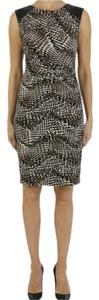 Joseph Ribkoff Animal Print Vegan Leather Sleeveless Dress