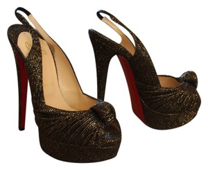Christian Louboutin Jenny Knotted Slingback Black Metallic Platform Sandal Stiletto Peep Toe Brown / Gold Pumps