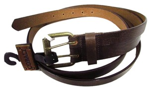 Cobalt Split Italian Leather Belt Brown Size Small