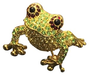 MONET Monet Vintage Gold And Rhinestone Frog Brooch