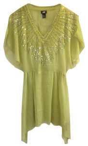 H&M Chartreuse Yellow Sequin Slit Party Flash Sale Tunic