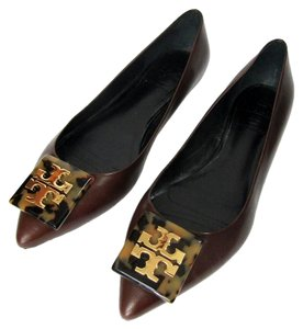 Tory Burch Ballet Pointed Toes Leather Wood Brown Flats