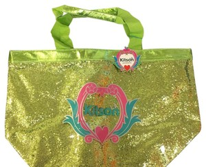 Kitson Lime Sparkle Green Beach Bag