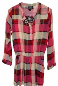 Angie Colorful Plaid Tunic Top Red,