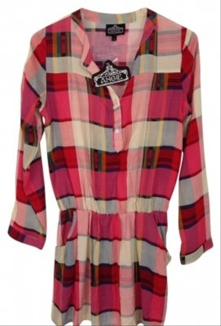 Angie Colorful Plaid Tunic Style #x4526 Top Red,