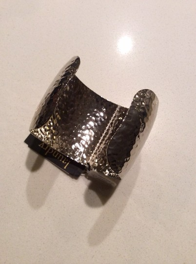Laundry by Shelli Segal Wide studded silver tone cuff bracelet