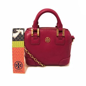 Tory Burch Mini Saffiano Leather Robinson Satchel in Wildberry