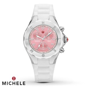 Michele NEW Tahitian Jelly Bean White Silicone Pink Topaz MWW12F000081 Watch