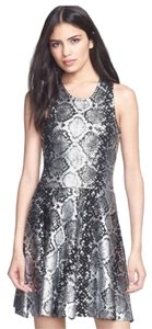 Parker Fit And Flare Cocktail Foiled Snake Print Dress