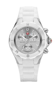 Michele NEW Tahitian Jelly Bean White Silicone Silver Dial MWW12F000032 Watch