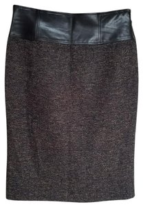 Lafayette 148 New York Pencil Leather Skirt brown/black