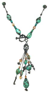 Kinley Skull Sterling Silver Front Toggle Kinley Necklace in Turquoise
