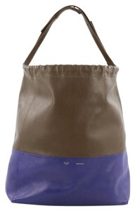 Céline Cabas Leather Tote in Blue and Taupe