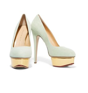 Charlotte Olympia Dolly Suede Pump Mint Pumps