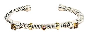 David Yurman David Yurman Sterling Silver 14k Gold Citrine Tourmaline Cable Bracelet