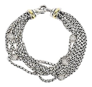David Yurman David Yurman Sterling Silver 18k Gold Diamond Multi Strand Box Chain Bracelet