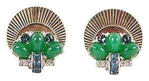 Vintage Gold Tone Round Green Stone Rhinestone Clip On Earrings