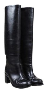 Chanel Leather Cuff Cc Stitched Knee High Round Toe Black Boots