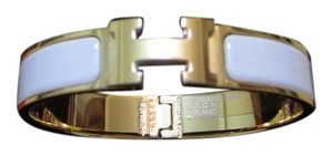 Herms Brand New Hermes Clic Clac H Bracelet In White And Gold