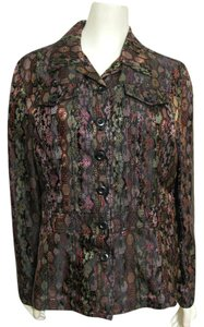 Coldwater Creek Oriental Asian Coat Metallic Blazer 10 8 Black Green Purple Embroidery Floral Red Embroidered multi Jacket