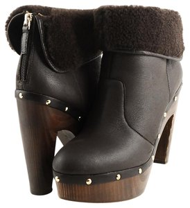 Elie Tahari Shelly Clog Brown Boots