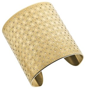 Michael Kors NWT. Gold Tone Crystal Pave Heritage Monogram Wide Cuff Bracelet