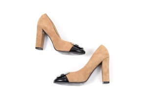 White House | Black Market Suede Color-block Retro Chunky Heel Tan Pumps