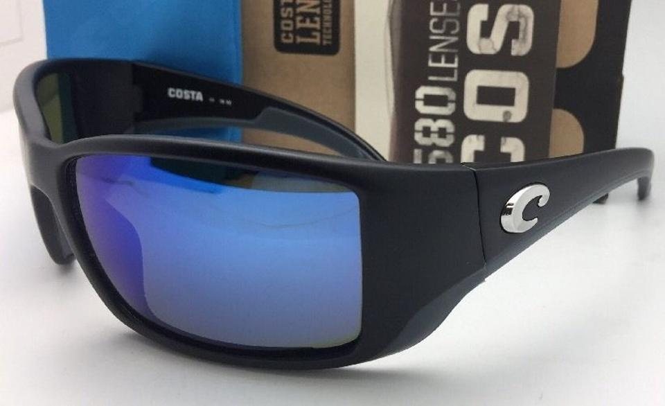 26fd66ce12 Costa Del Mar Polarized COSTA Sunglasses BLACKFIN BL 11 Matte Black w Blue  Mirror Image. 12345678910