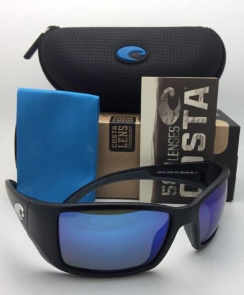 ff805065e Costa Del Mar Polarized COSTA Sunglasses BLACKFIN BL 11 Matte Black w/Blue  Mirror Image. 12345678910