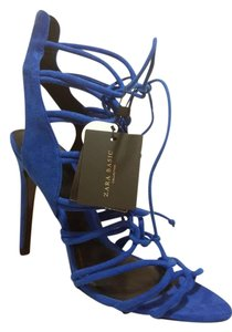 Zara Strappy Night Out Date Night Holiday Electric Blue Sandals