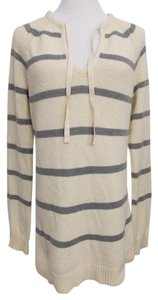 Gap Long Tunic Striped Drawstring Neck Tunic Sweater