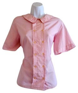Other Vintage Retro Peter Pan Collar 1980s Button Down Shirt Pink