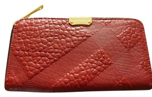 Burberry $575 'Elmore' Check Embossed Red Leather Continental Wallet NEW