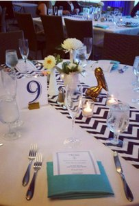 Teal/turquoise Navy White Chevron Wedding Linens