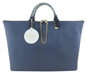 Chloé Gold Hardware Leather Tote in Blue
