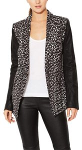 Plenty by Tracy Reese Cheetah Animal Print Leather Black White Brown Blazer
