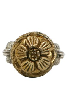 Stephen Dweck Stephen Dweck Sterling Silver Rope and Gold Round Flower Ring