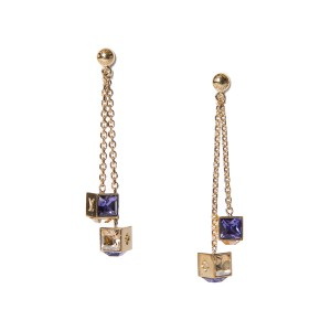 Louis Vuitton Louis Vuitton Gold-Tone Gamble Dangle Earrings