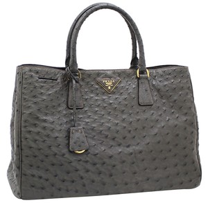 Prada Ostrich Handbag Exotic Leather Penny Lane Tote in Gray