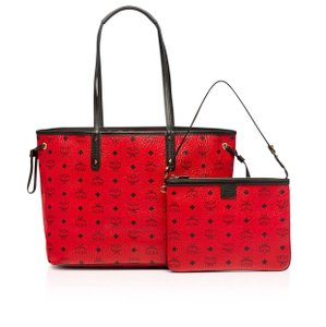 MCM Tote in Dark Red