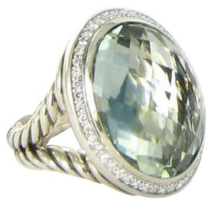 David Yurman David Yurman Signature Oval Ring Prasiolite Diamond 0.39cts Sterling