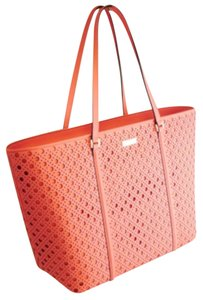 Kate Spade Coral Perforated Leather Saffiano Leather Gucci Tote in Flamingo
